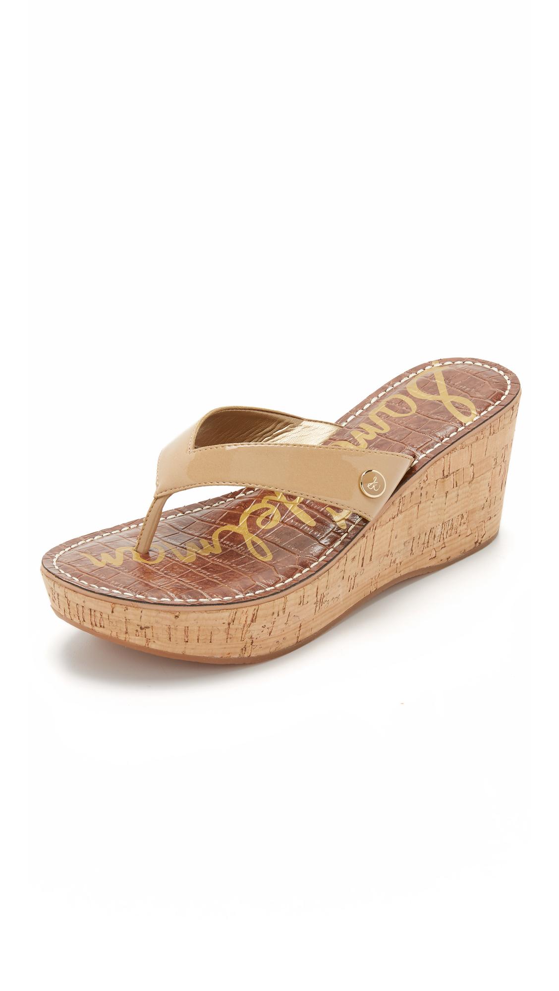 Sam Edelman Romy Wedge Thong Sandals In Almond Brown Lyst