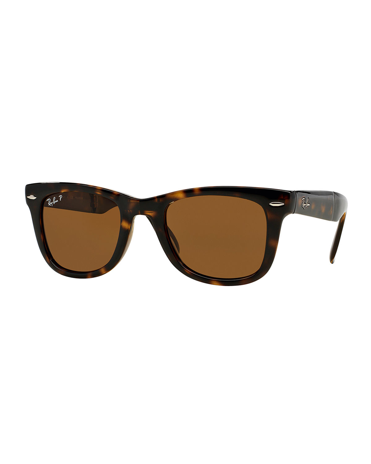 ray ban polarized wayfarer sunglasses in brown for men lyst. Black Bedroom Furniture Sets. Home Design Ideas