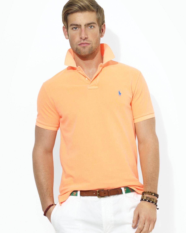 224c8b77 Ralph Lauren Polo Custom Mesh Polo Shirt - Slim Fit in Orange for ...