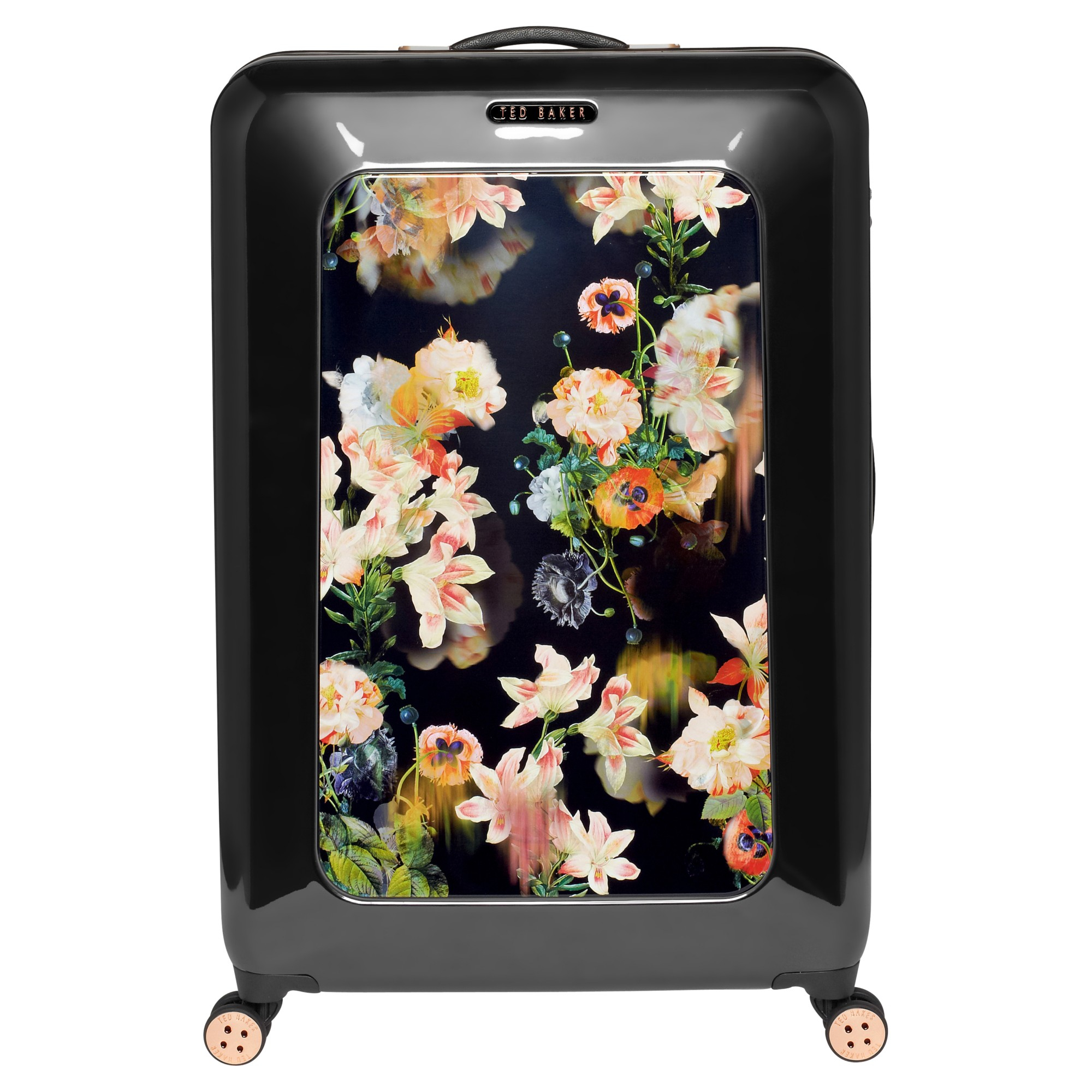 7ebbe97d70edf Ted Baker Opulent Bloom 4-Wheel 79.5Cm Large Suitcase in Black - Lyst