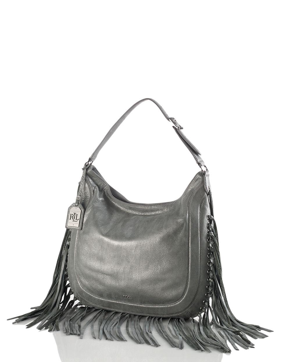 af810731344e Lyst - Lauren By Ralph Lauren Fleetwood Leather Hobo Bag in Gray