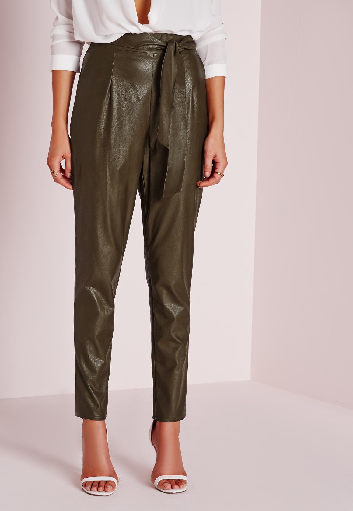 Missguided Tie Waist Faux Leather Pegged Leg Pants Khaki