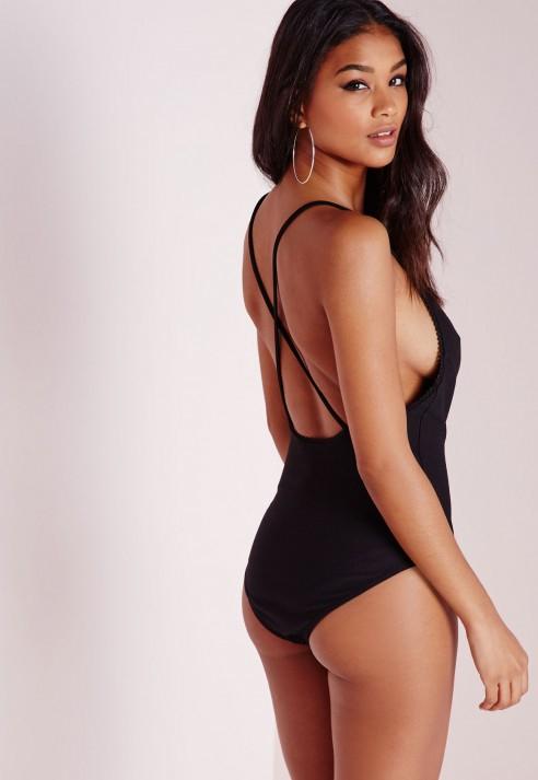 Missguided Lace Trim V Neck Bodysuit Black in Black - Lyst a4f67c0c6