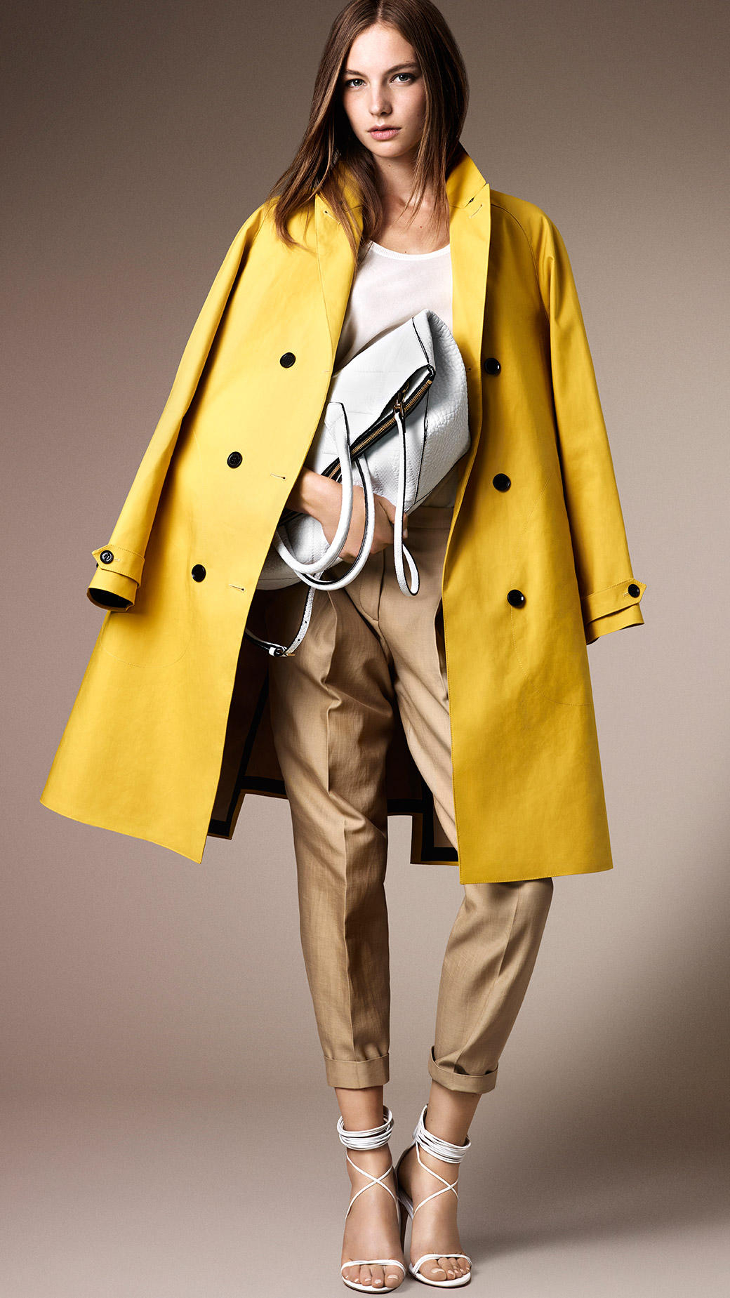 Gallery - Burberry Long Oversize Bonded Cotton Trench Coat In Yellow Lyst