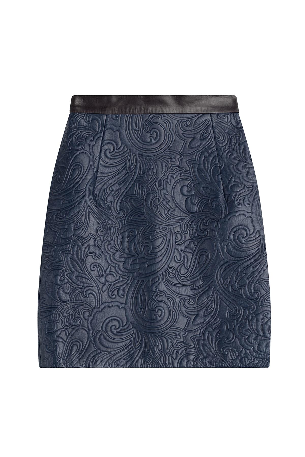 katrantzou embossed leather mini skirt blue in blue