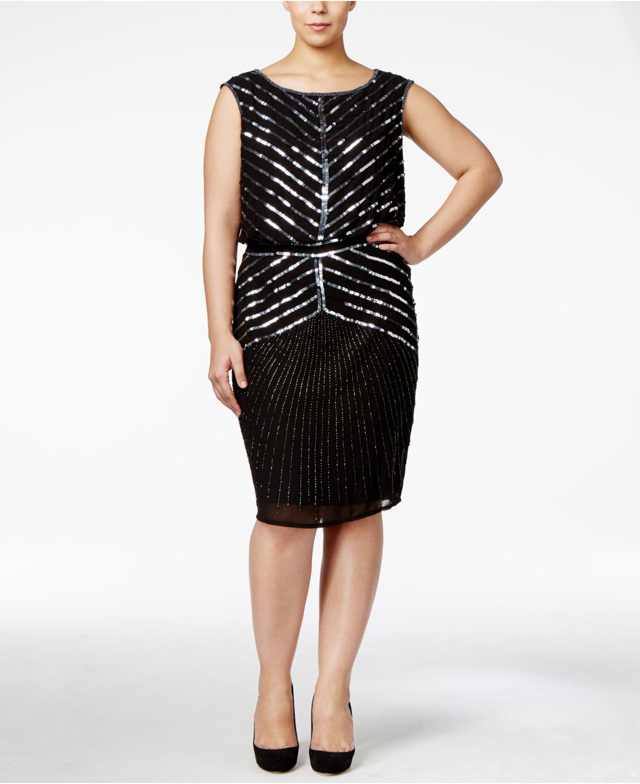 Adrianna papell Plus Size Sequined Party Dress in Black ...