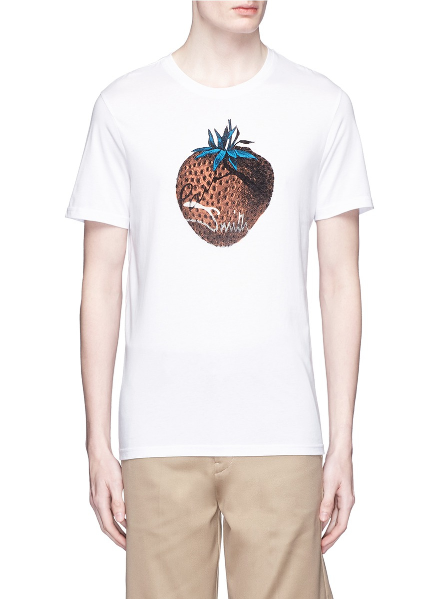 Lyst paul smith 39 strawberry 39 print organic cotton t for Natural cotton t shirts