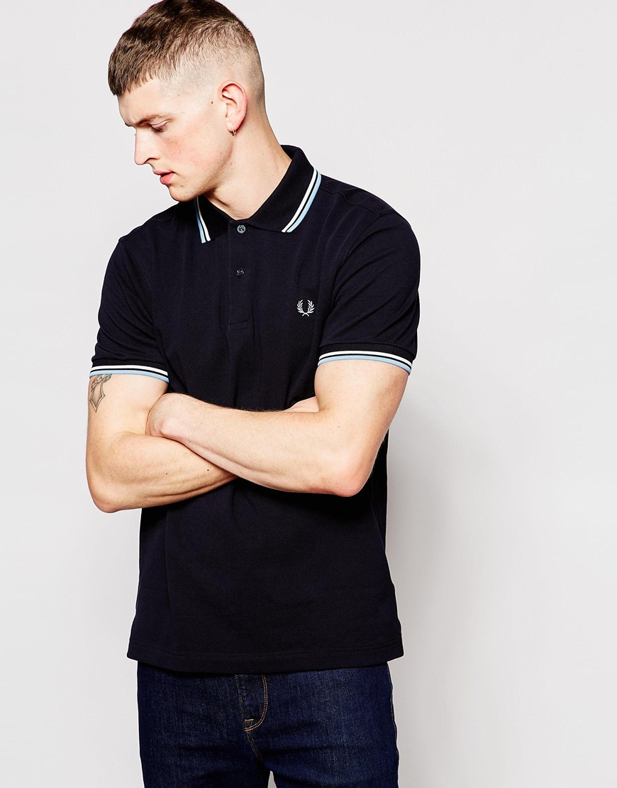 b924ba676 Fred Perry Polo Shirt With Twin Tip Regular Fit In Navy in Blue for ...