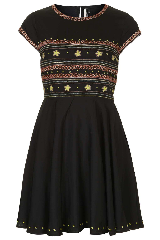Topshop folk embroidered flippy dress in black lyst