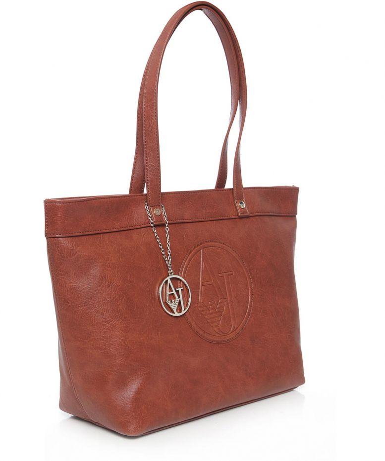 armani jeans eco embossed logo shopper bag in brown lyst. Black Bedroom Furniture Sets. Home Design Ideas