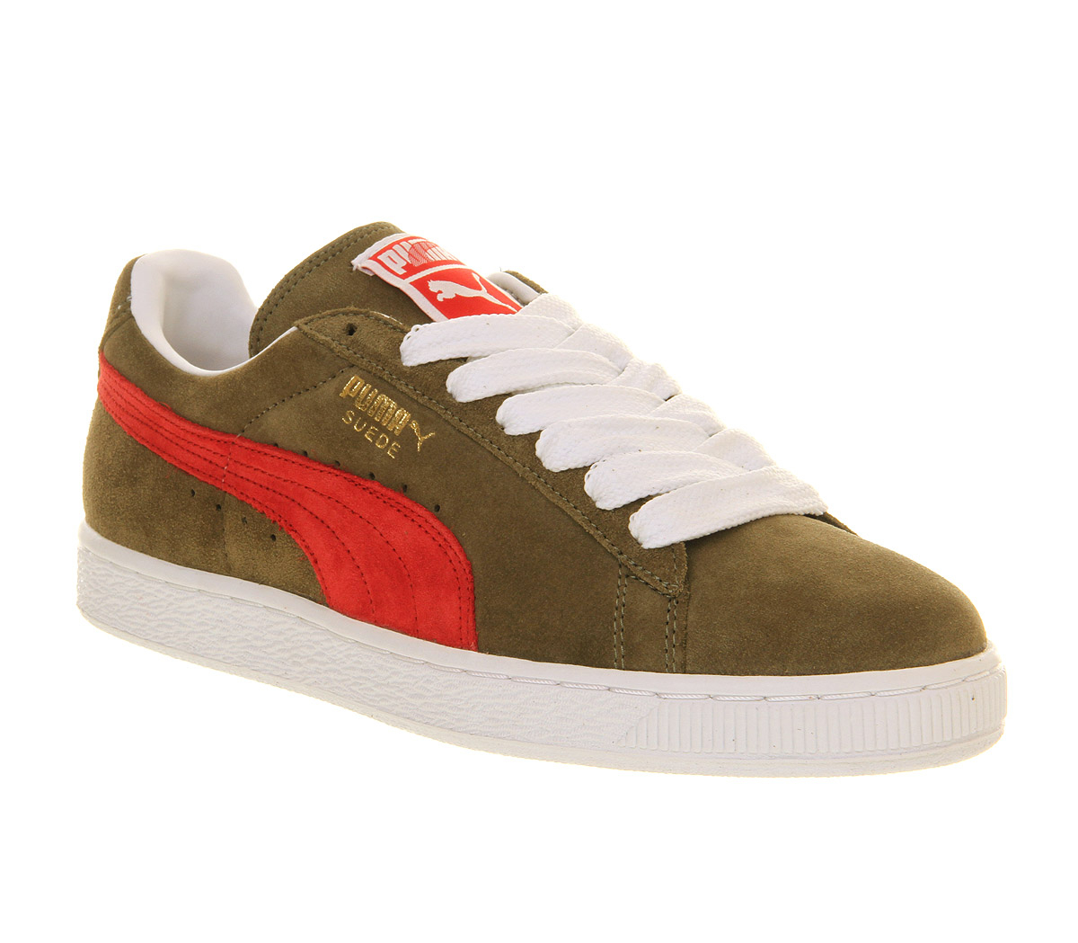 784508c1446 PUMA Green Suede Classic Burnt Olive Ribbon Red Smu Exclusive for men