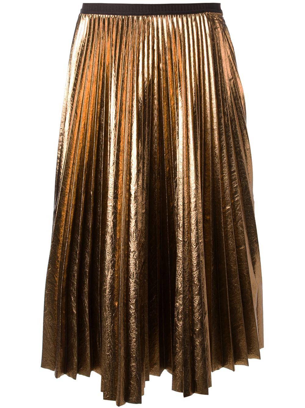 antonio marras metallic pleated skirt in gold metallic