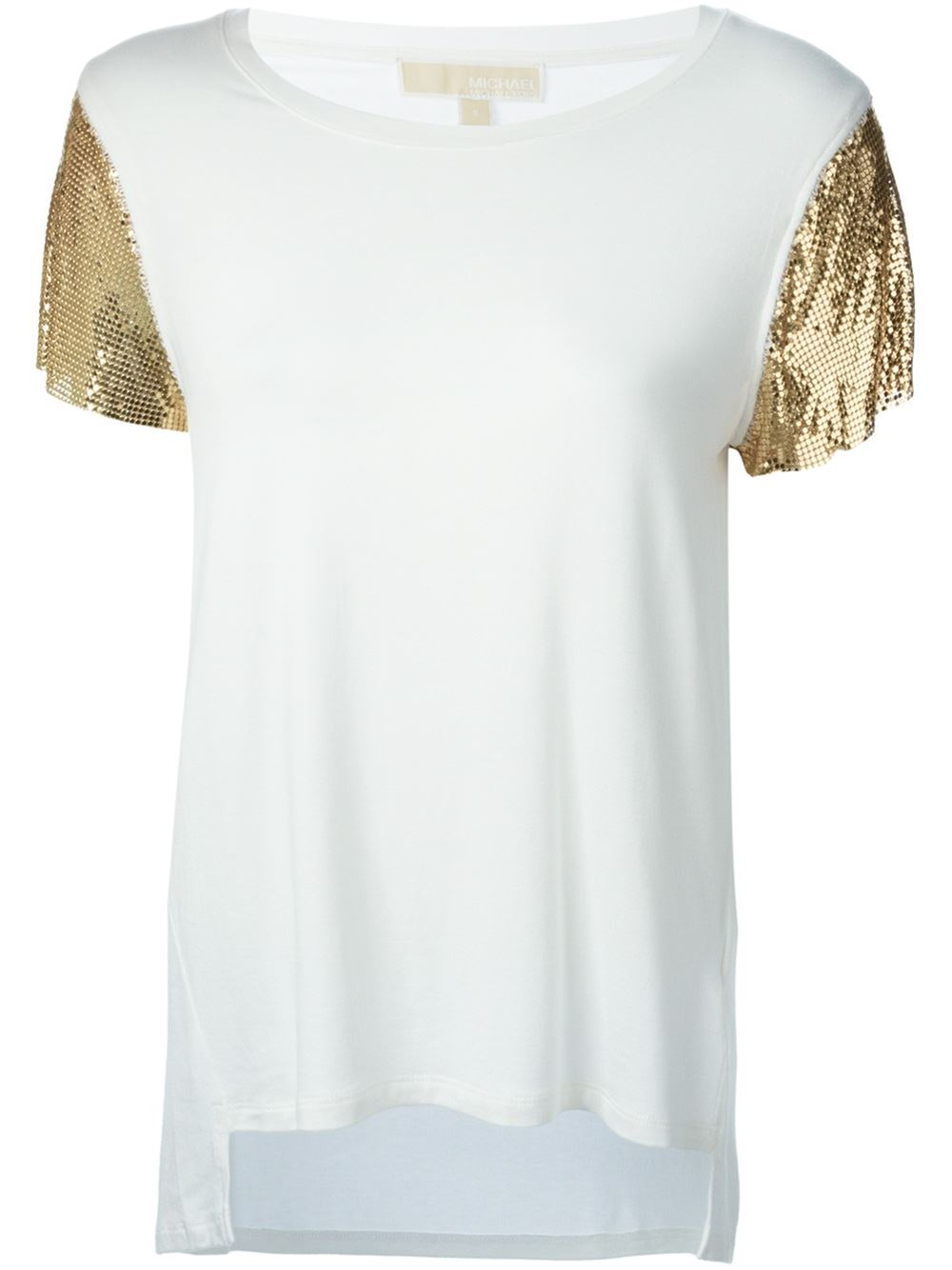 michael michael kors metallic sleeves t shirt in white lyst. Black Bedroom Furniture Sets. Home Design Ideas