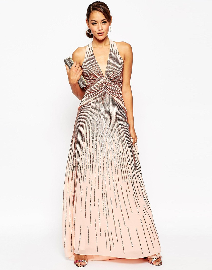 8f5778dc ASOS Tall Red Carpet 30's Deep Plunge Rose Sequin Maxi Dress in Pink ...