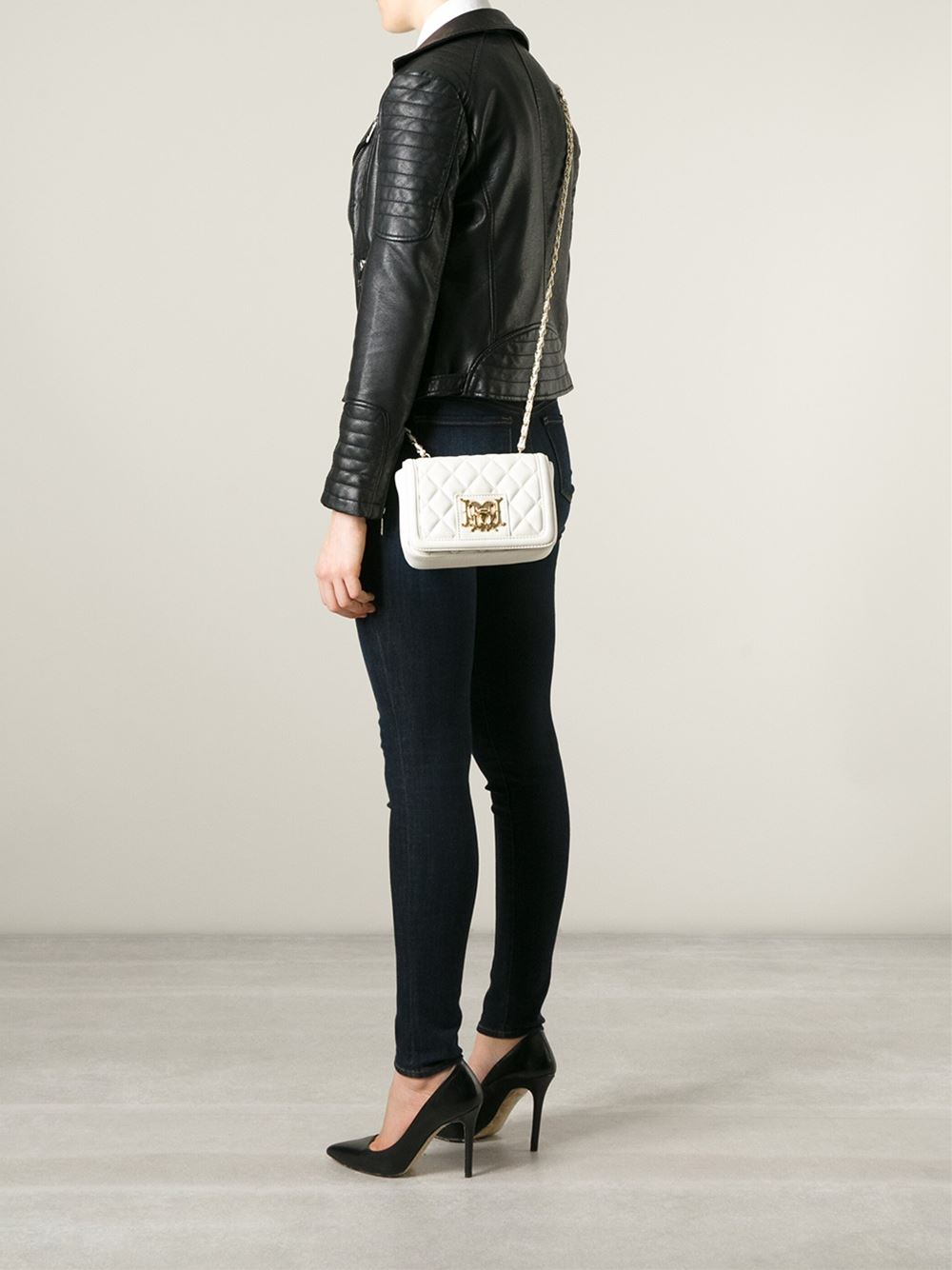 Love Moschino Quilted Leather Cross Body Bag In White Lyst