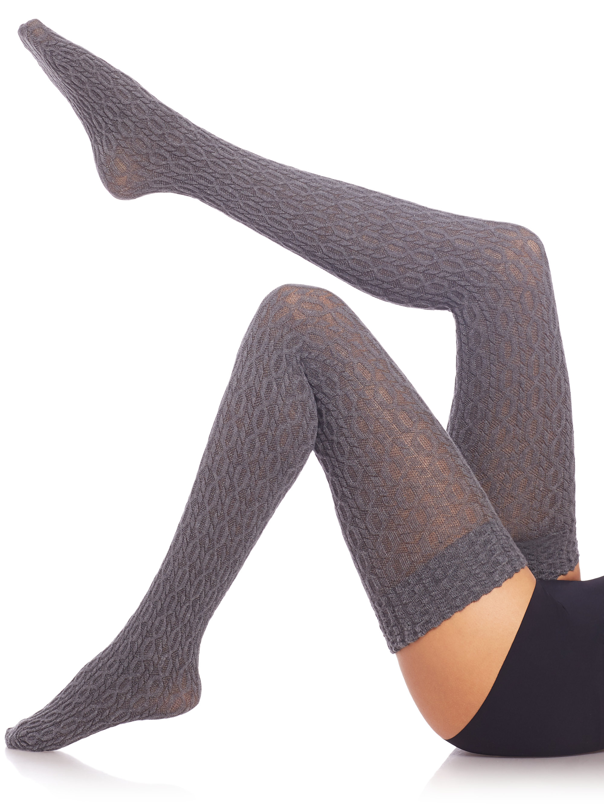 d9e5be754 Fogal Eyrin Cable-knit Thigh Highs in Gray - Lyst