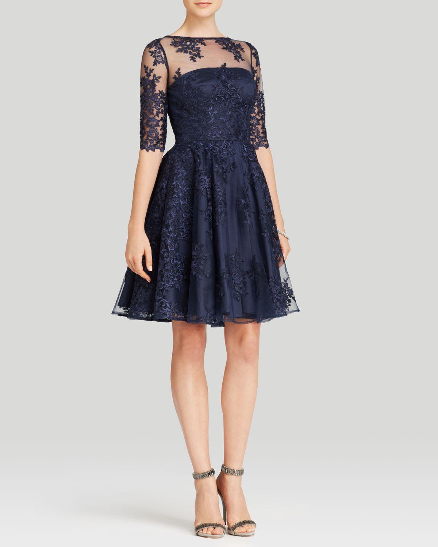 Ml Monique Lhuillier Dress Elbow Sleeve Illusion Neck