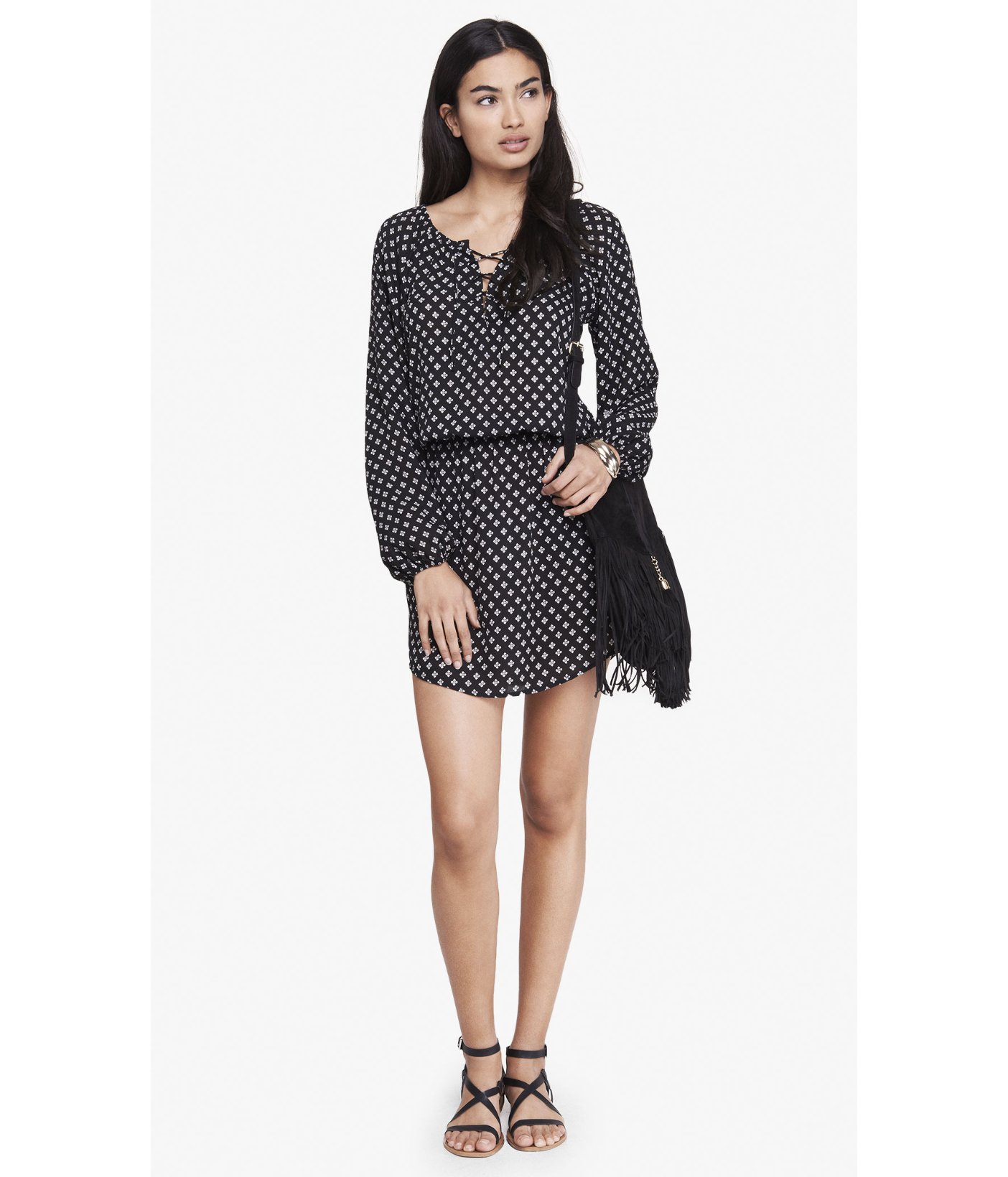 Express Printed Lace Up Long Sleeve Drop Waist Dress In