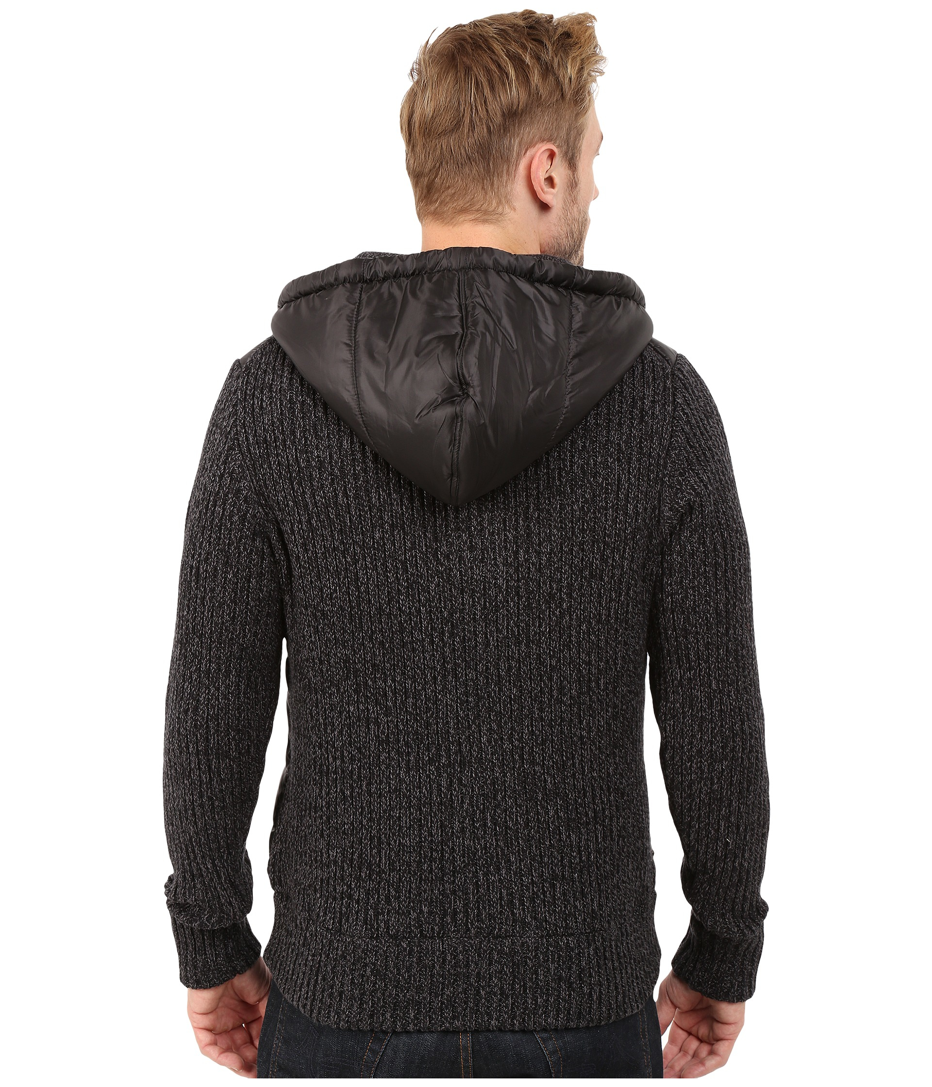 Dkny Long Sleeve Quilted Front Full Zip Hooded Sweater in Black ...