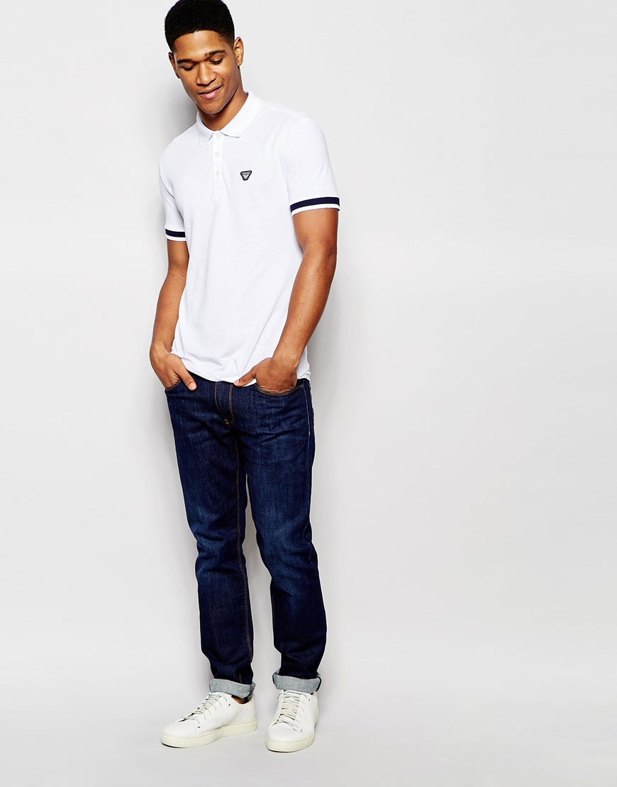 Armani jeans rmani jeans polo shirt with tipped cuff slim for Polo shirt and jeans