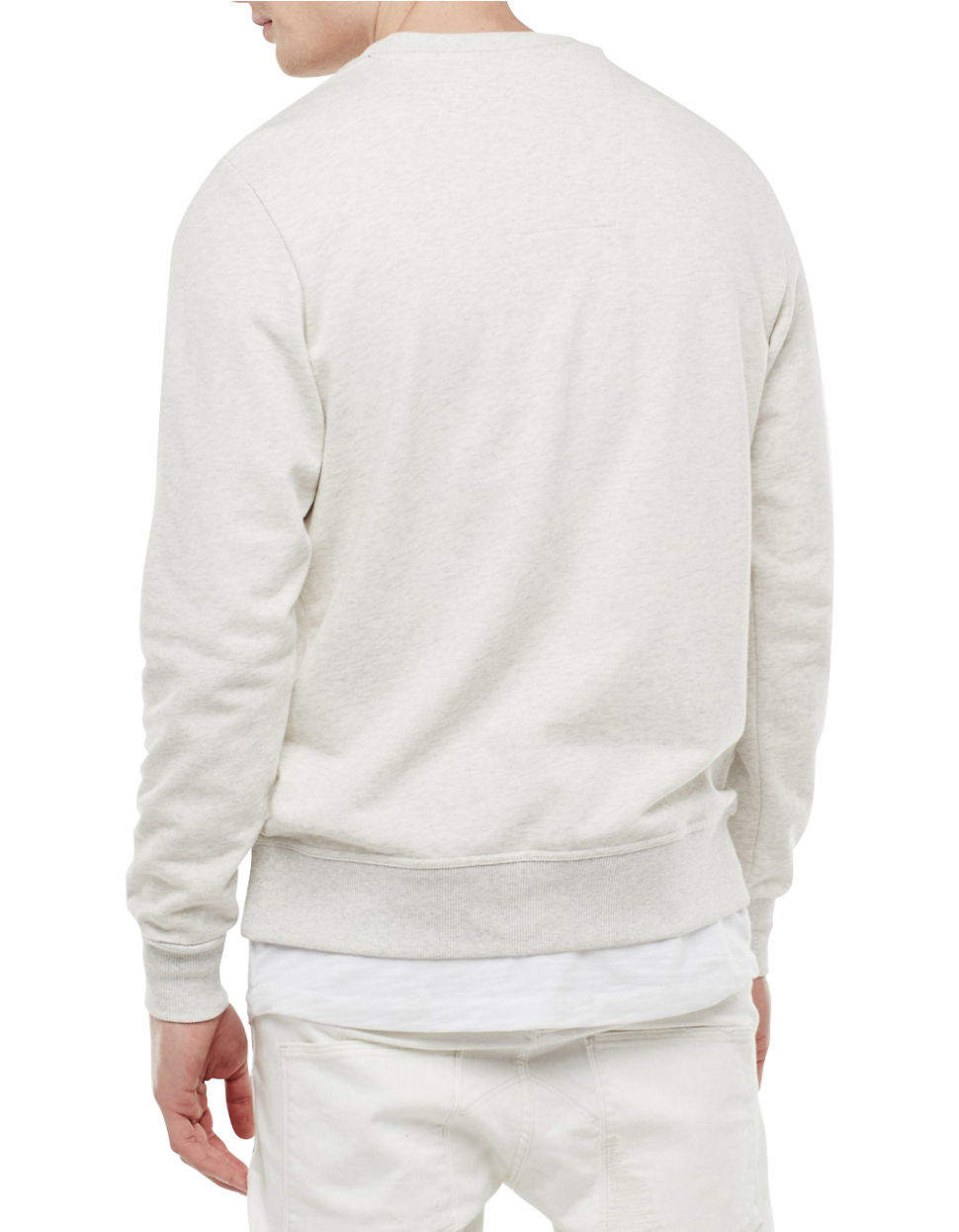star raw logo pullover sweatshirt in white for men lyst. Black Bedroom Furniture Sets. Home Design Ideas