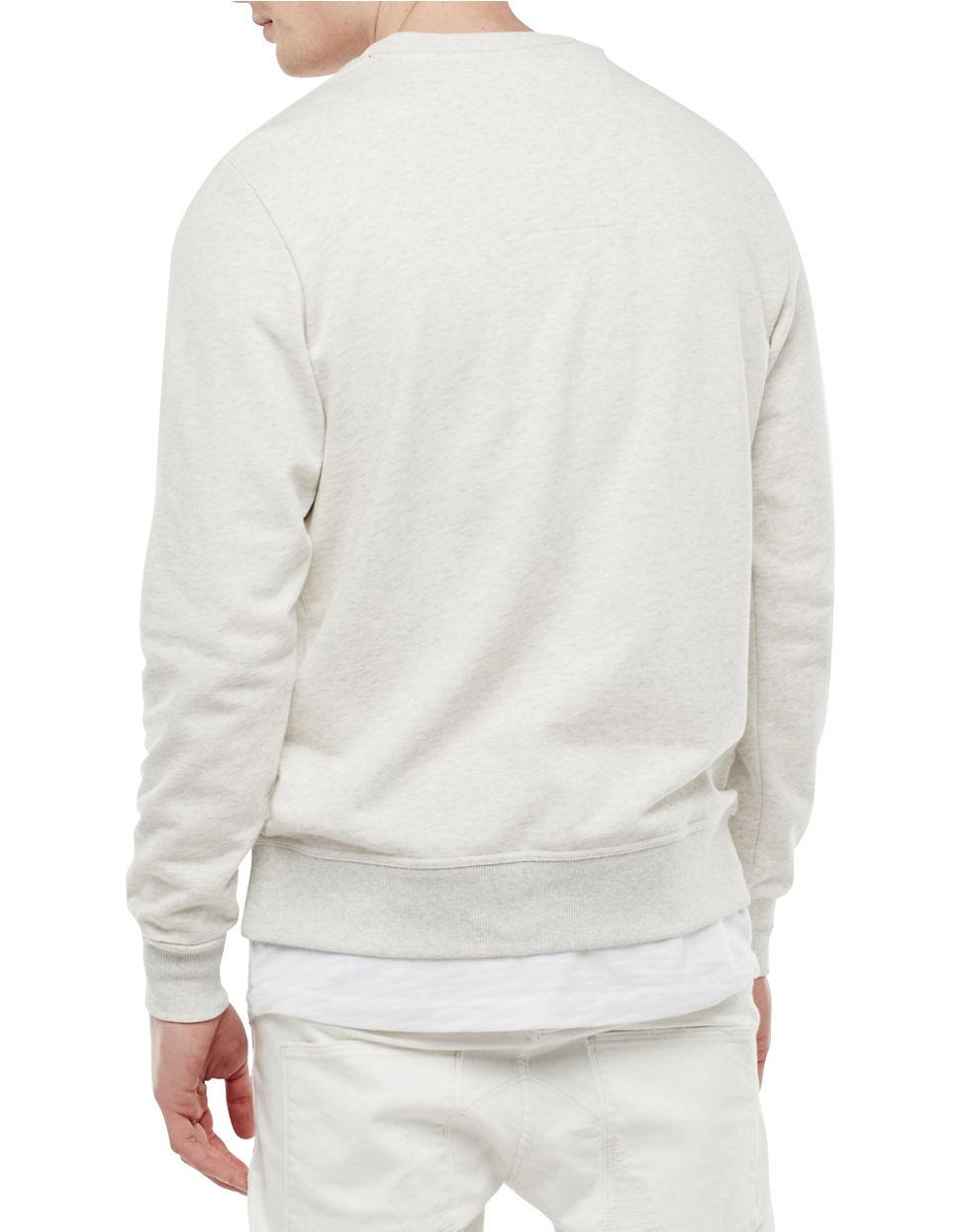 g star raw logo pullover sweatshirt in white for men lyst. Black Bedroom Furniture Sets. Home Design Ideas