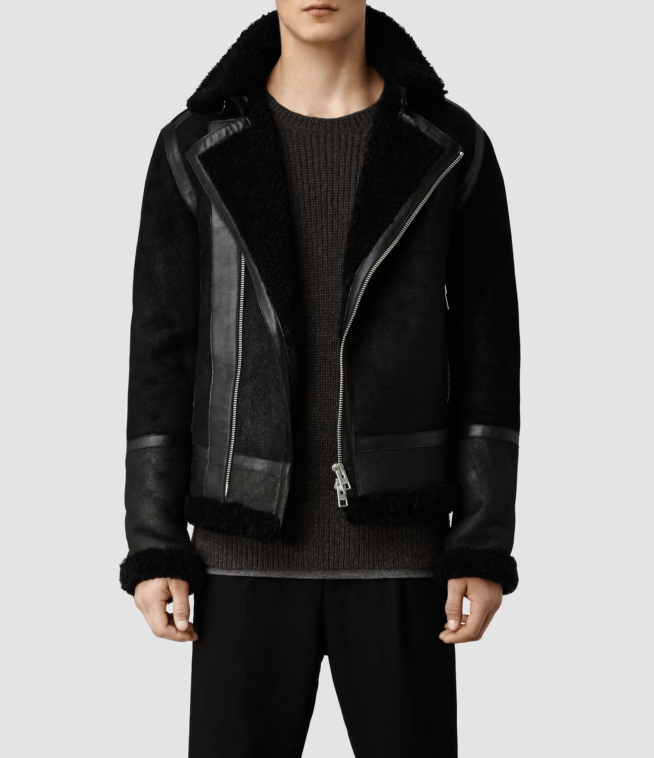 Allsaints Union Shearling Leather Jacket in Black for Men | Lyst