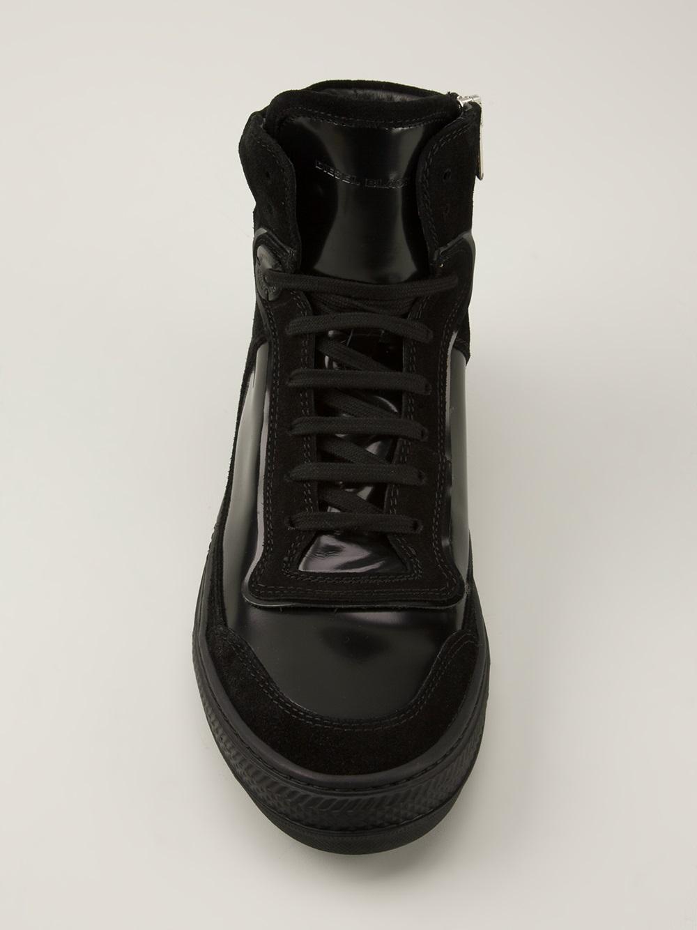 Lyst Diesel Black Gold Diamond Hi Top Sneakers In