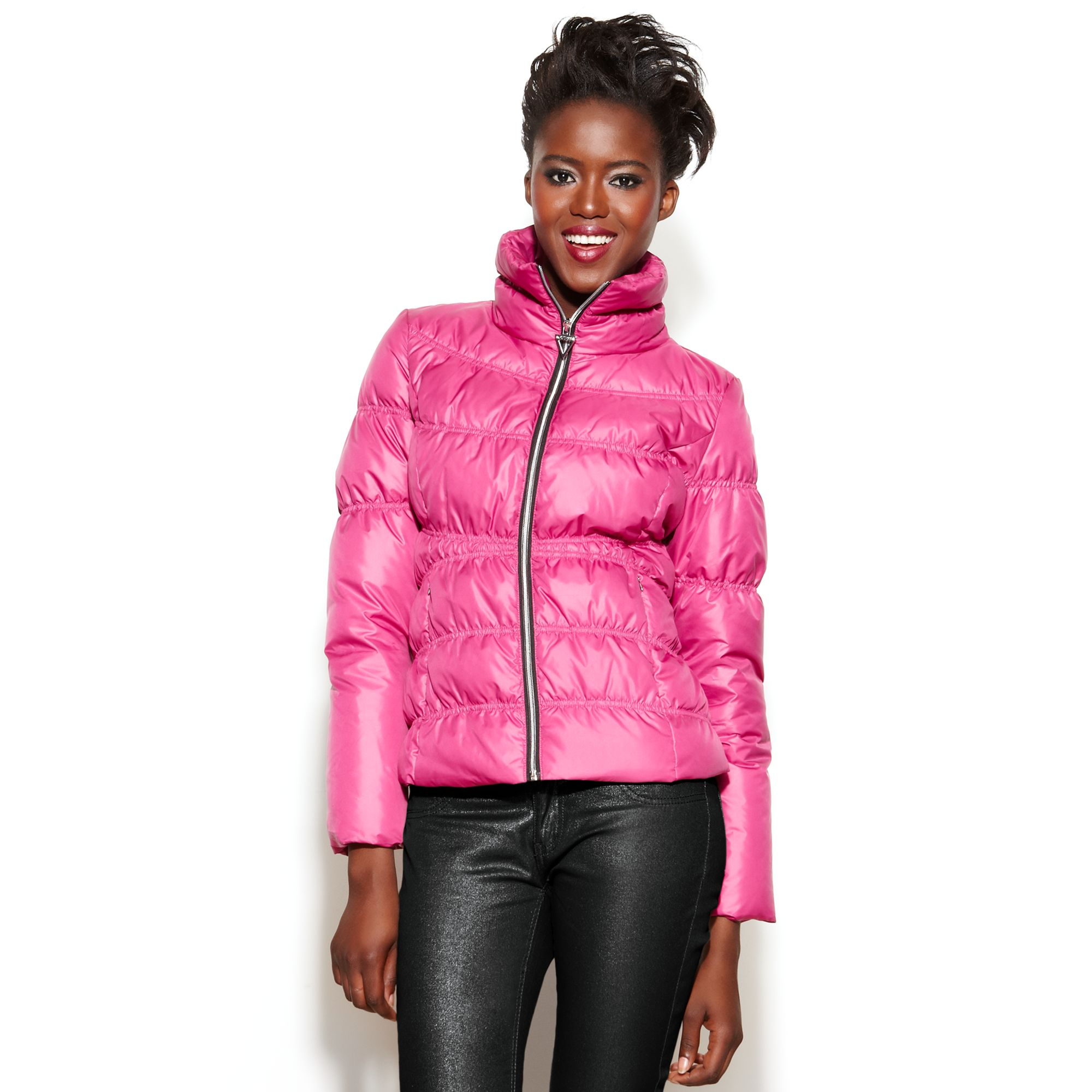 Lyst Guess Coat Funnelneck Quilted Puffer In Pink