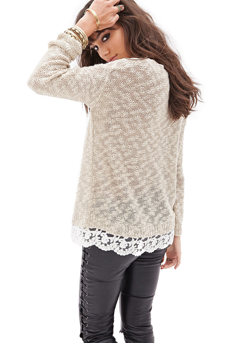 Forever 21 Lace-trimmed Open-knit Sweater in Taupe/Cream ... - photo#46