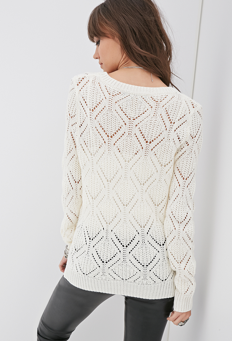 Open Knit Sweater Pattern : Forever 21 Open-knit Geo Pattern Sweater Youve Been Added ...