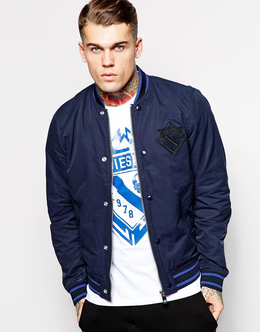 Diesel Jacket J-iowa Lightweight Varsity Bomber in Blue for Men | Lyst