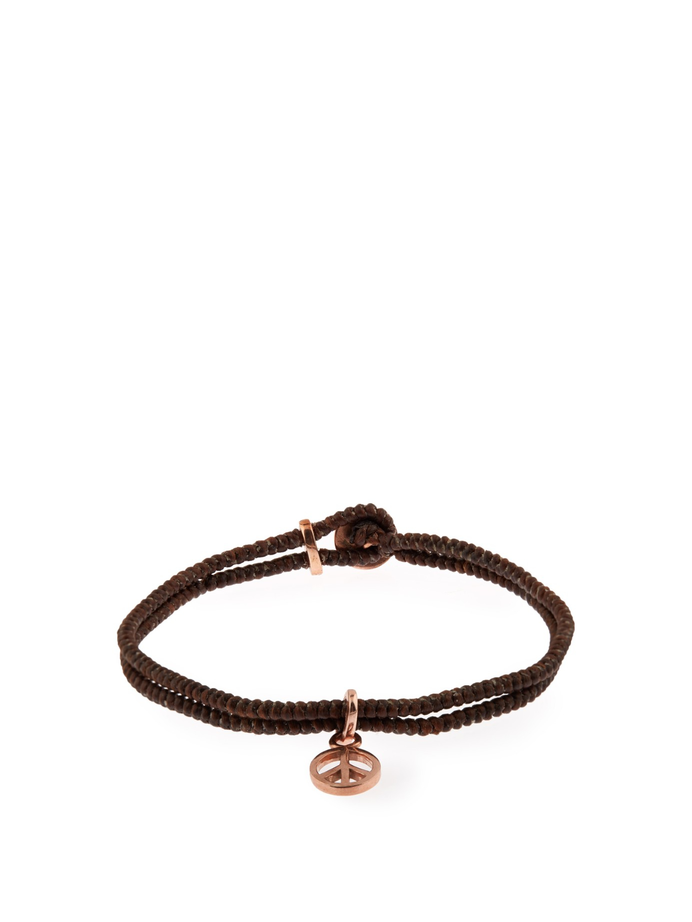 Paul smith Peace Charm Leather Bracelet in Brown for Men