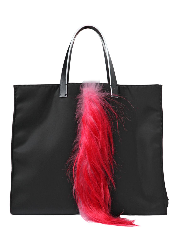 Fendi Karlito Tote Bag With Fur Details in Black