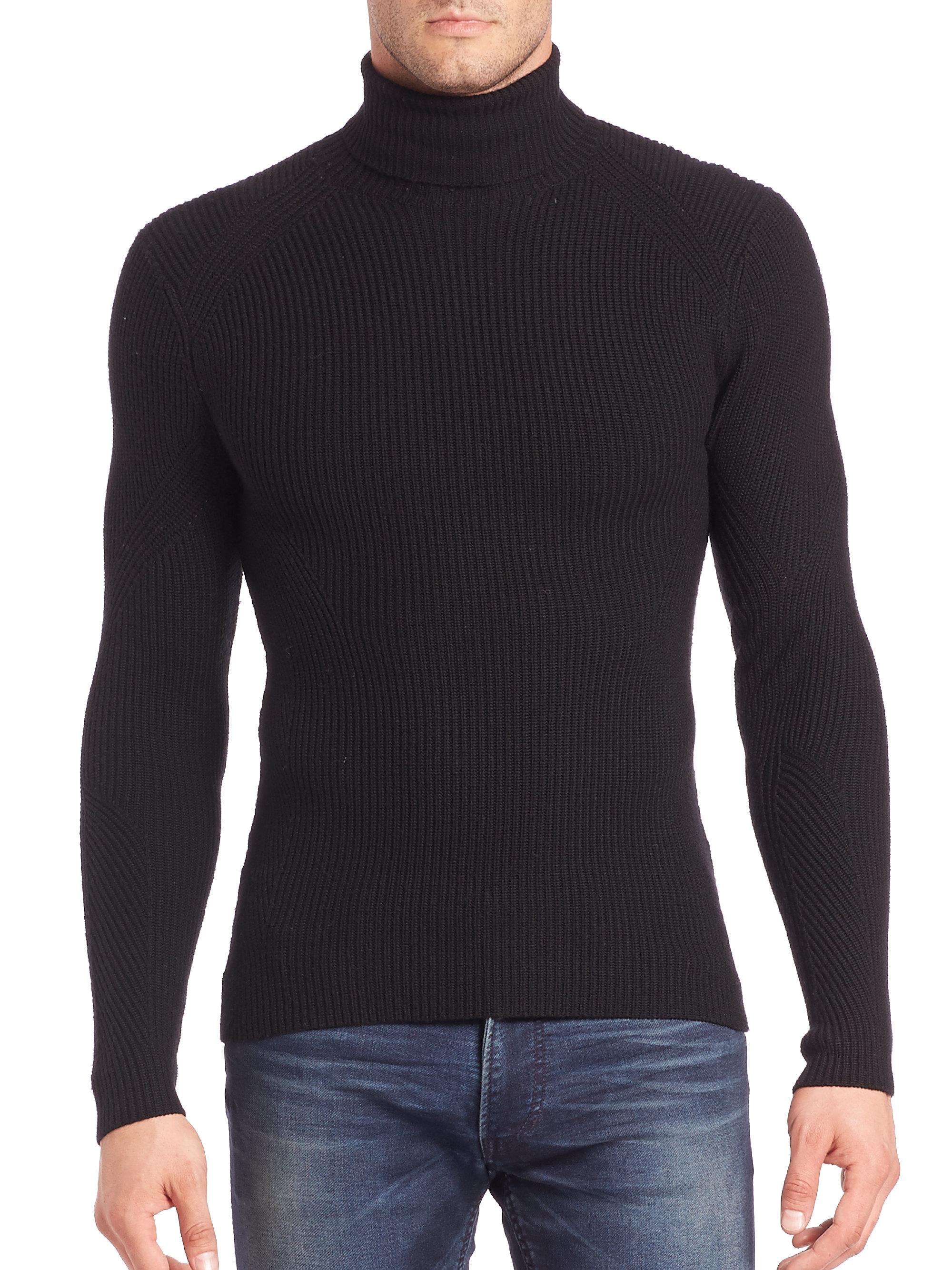 Ralph lauren black label Ribbed Merino Wool Turtleneck Sweater in ...