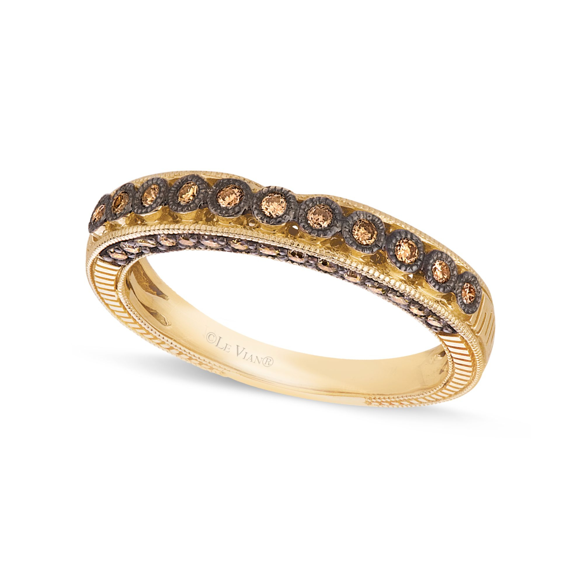 Le Vian Women39;s Brown Chocolate Diamond Wedding Band 1/4 C. T.w. In