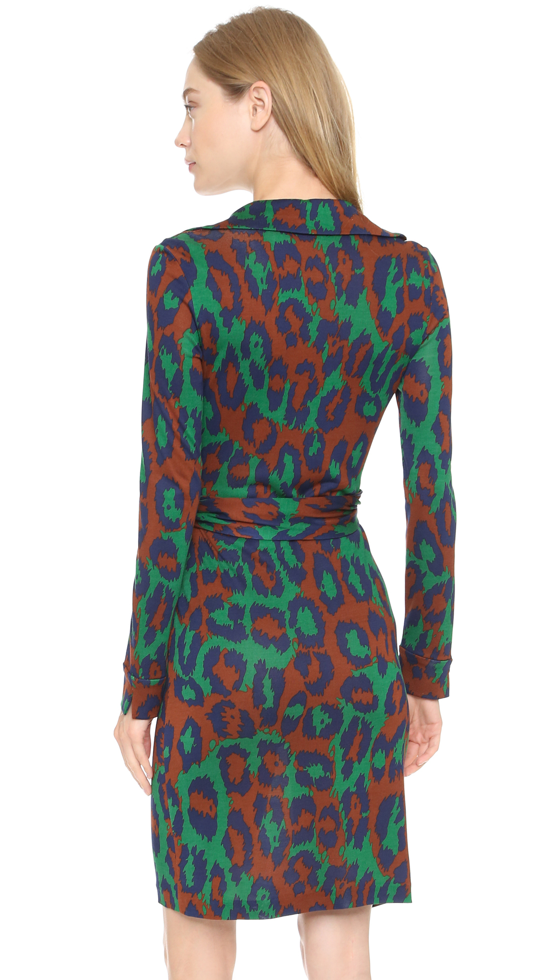 Diane Von Furstenberg Savannah Wrap Dress Leopard Medium