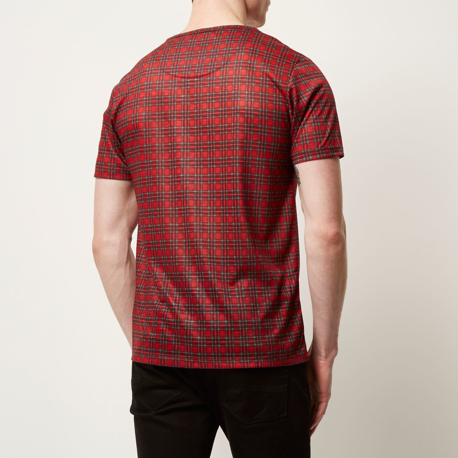 River island bright red plaid check t shirt in red for men for Dark red plaid shirt