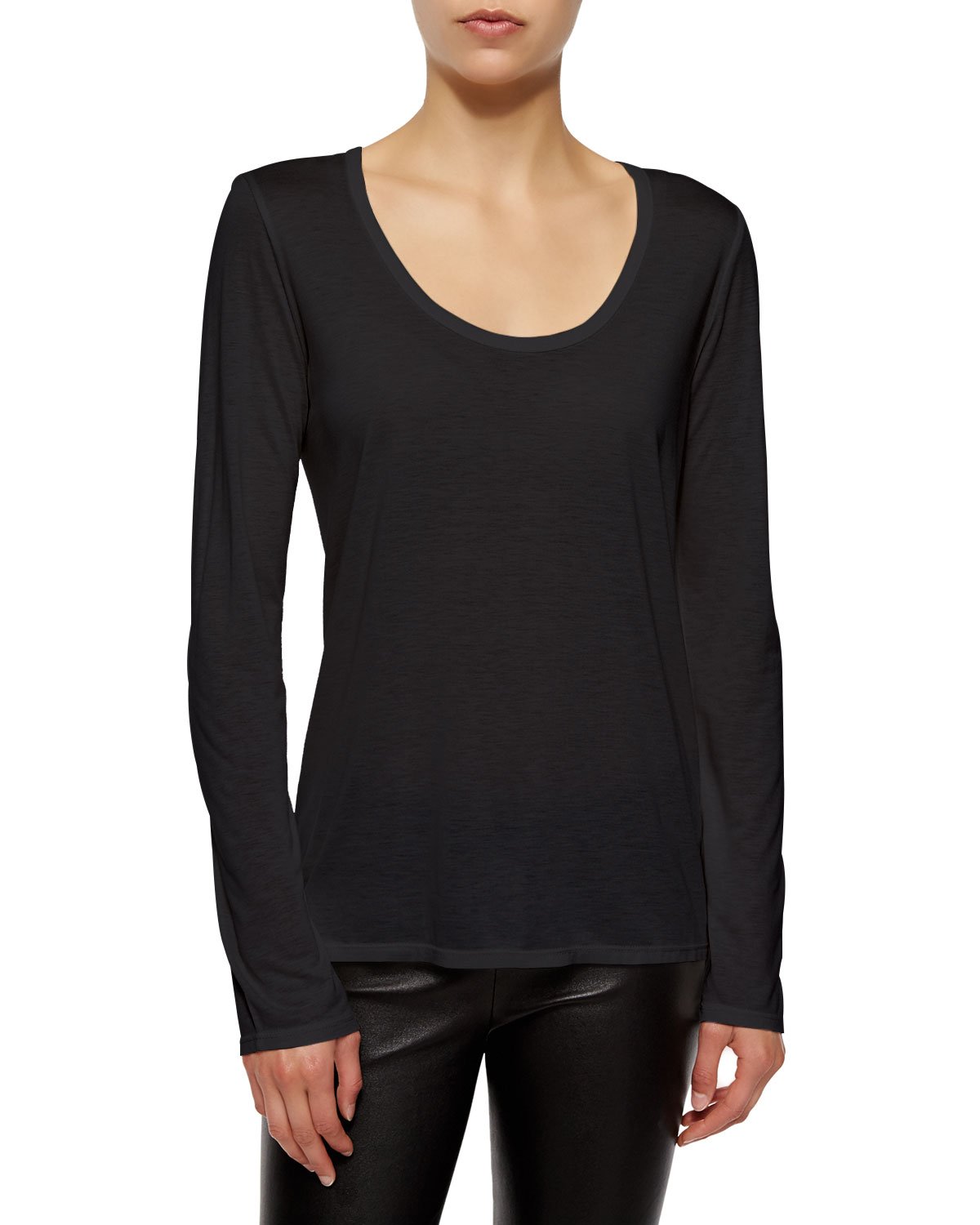 The Row Long Sleeve Scoop Neck Tee In White Lyst