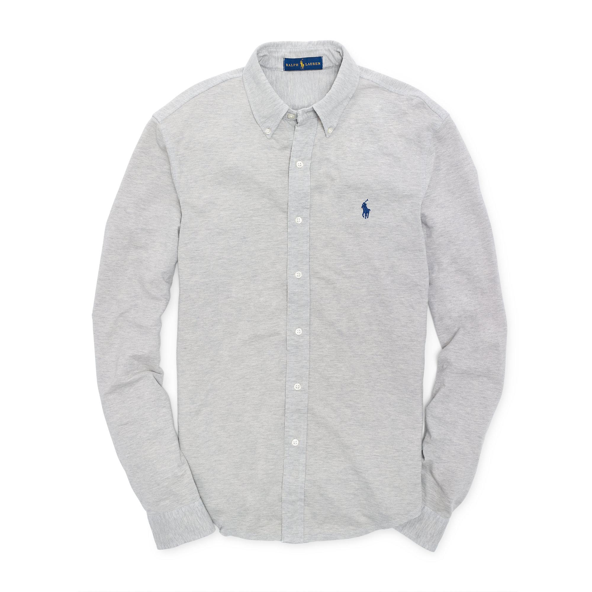 5c4839d388e Lyst - Polo Ralph Lauren Featherweight Mesh Shirt in Gray for Men