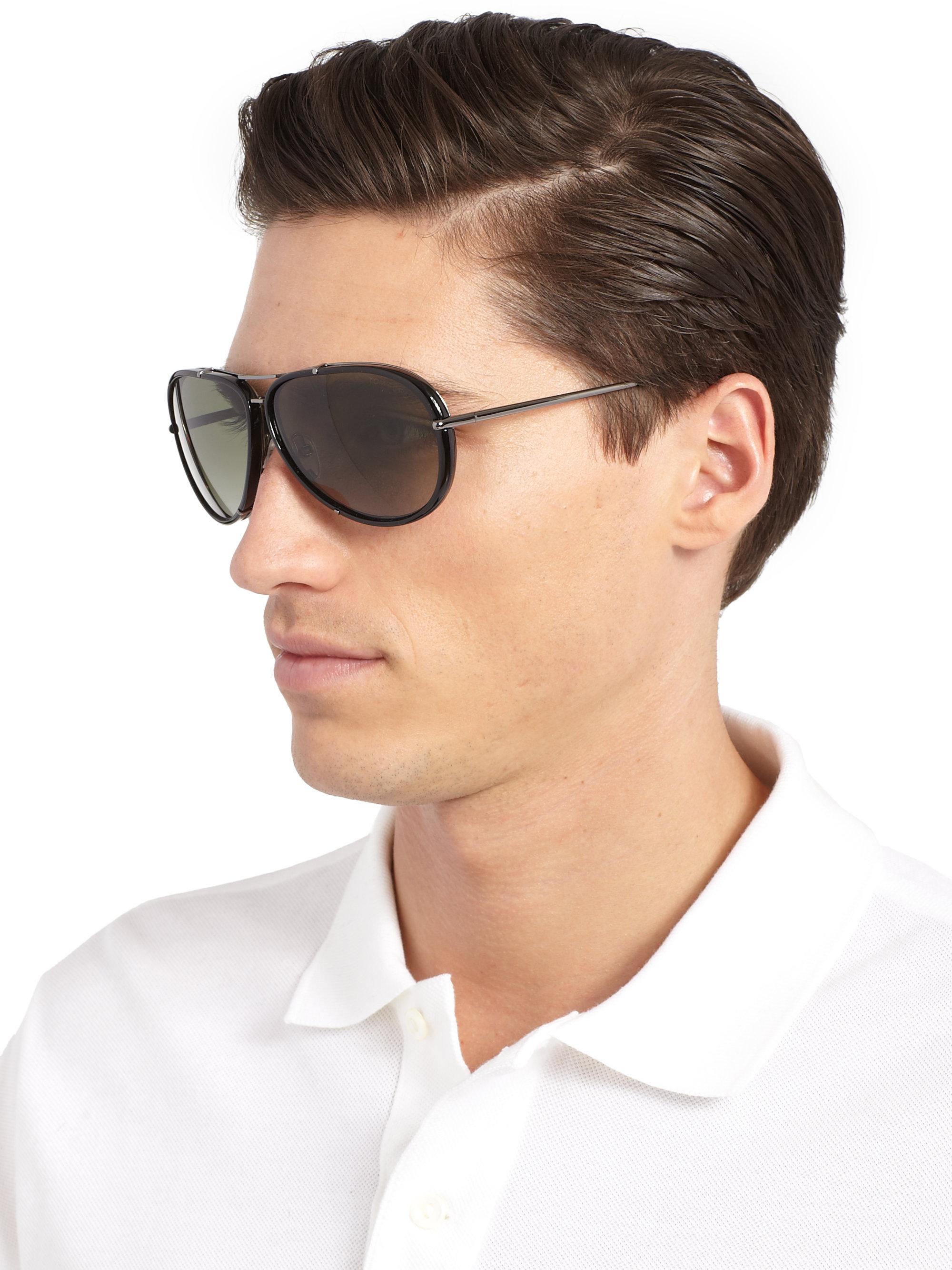 tom ford cyrille 63mm aviator sunglasses in black for men. Black Bedroom Furniture Sets. Home Design Ideas