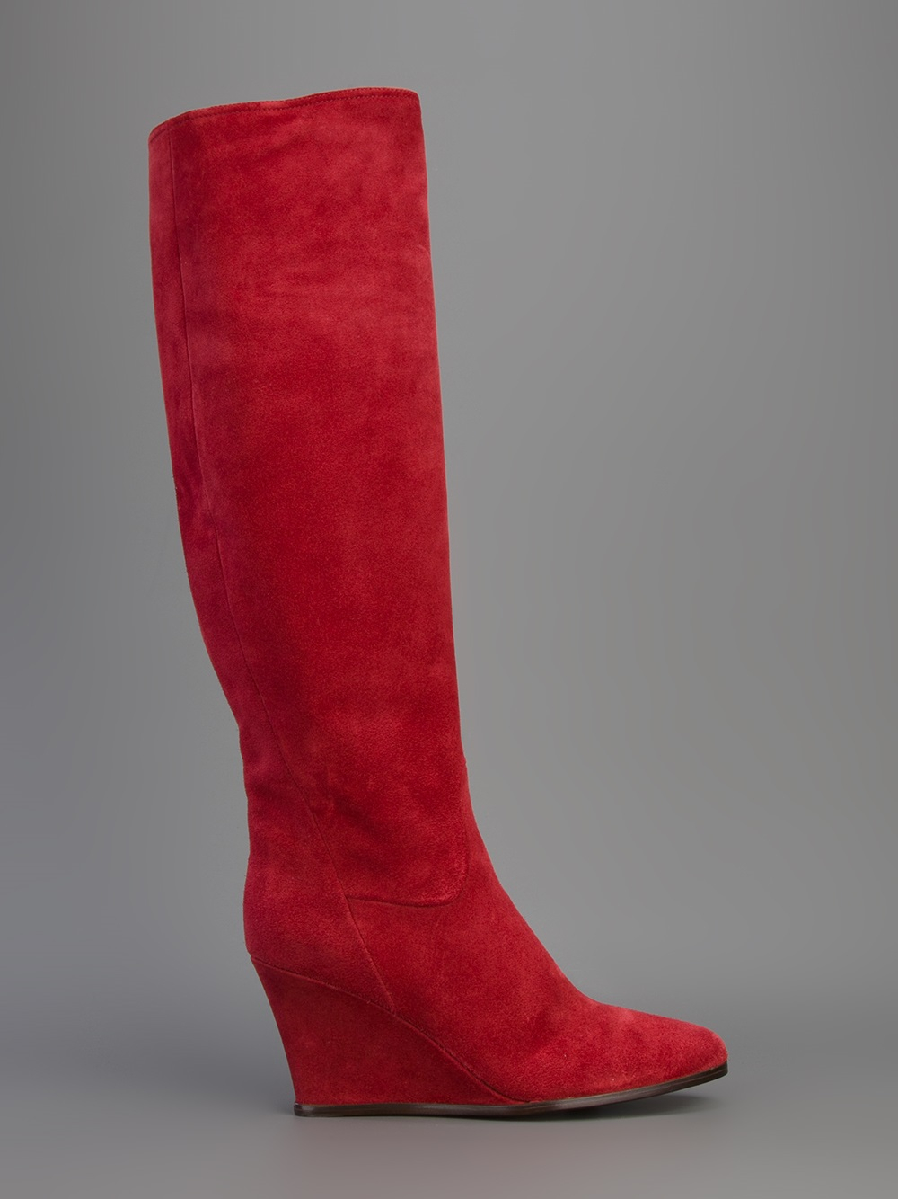 Lanvin Knee High Wedge Boot In Red Lyst