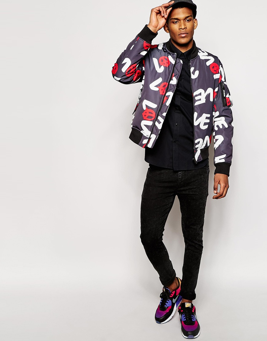 e6d51c2557eb8 Love Moschino Love Print Bomber Jacket in Black for Men - Lyst