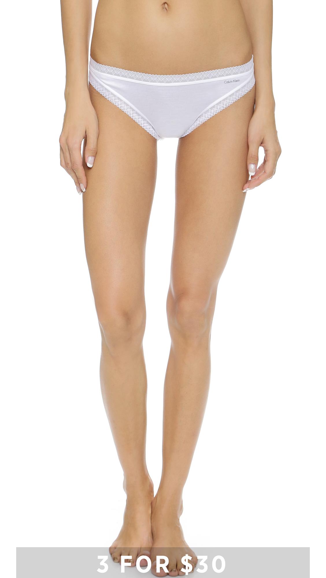 Lyst Calvin Klein Flourish Thong In White