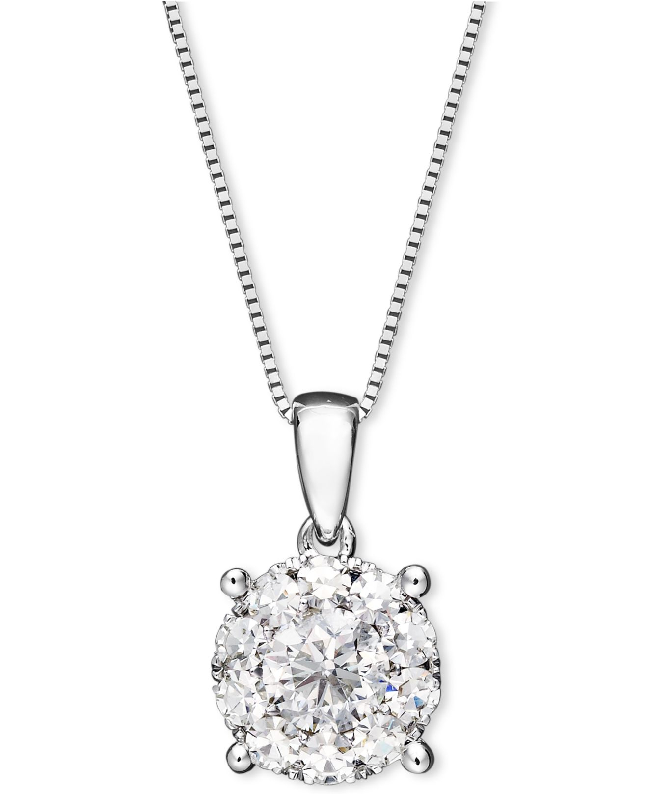 macy 39 s diamond pendant necklace in 14k white gold 1 2 ct. Black Bedroom Furniture Sets. Home Design Ideas