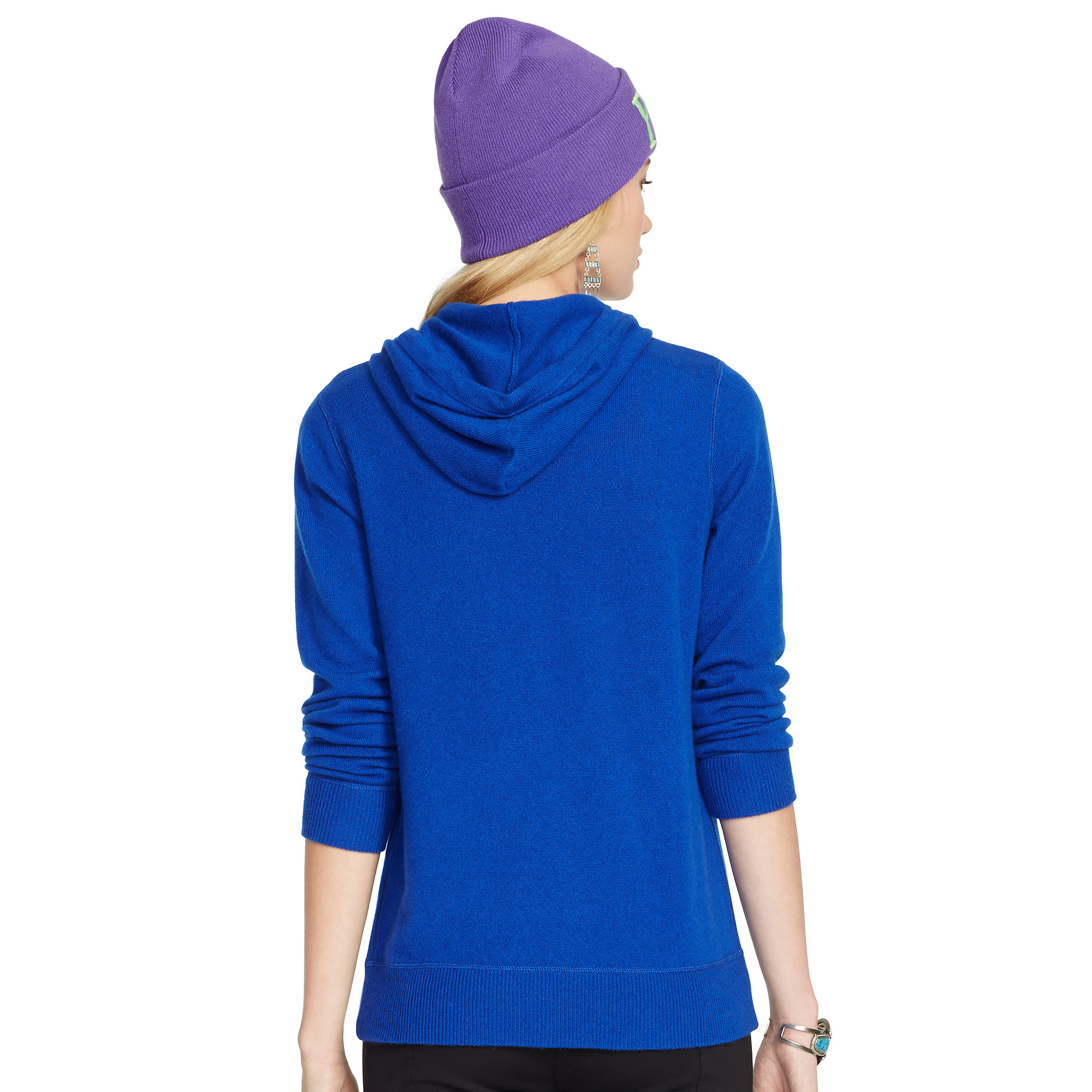 polo ralph lauren cashmere hoodie in blue lyst. Black Bedroom Furniture Sets. Home Design Ideas