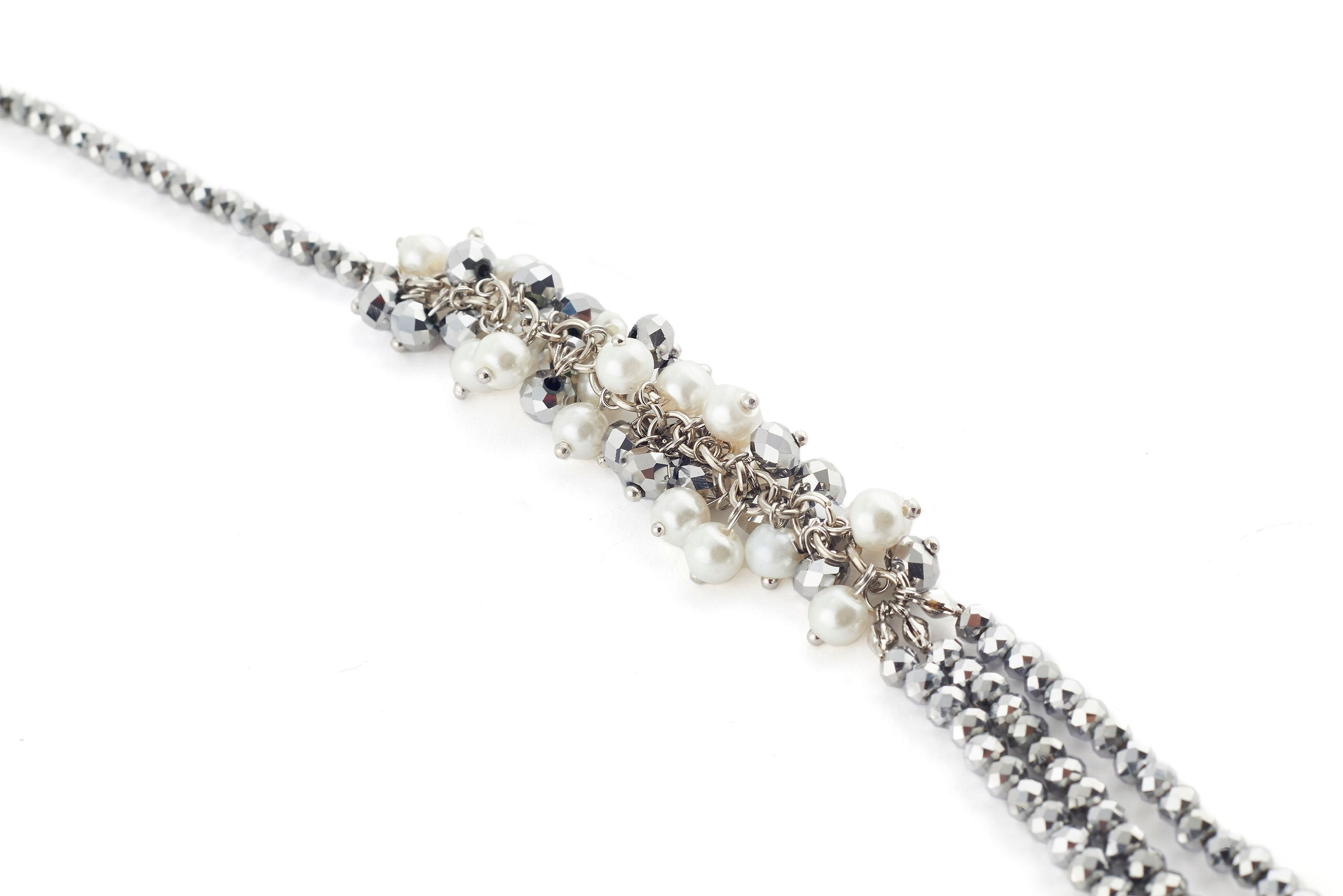 James Lakeland Long Pearl Beaded Cluster Necklace in Grey (Grey)