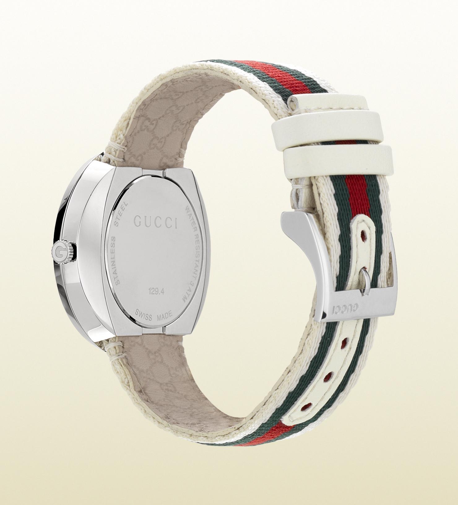 e4d76cf56a7 Lyst - Gucci U-play Medium Web Watch in White