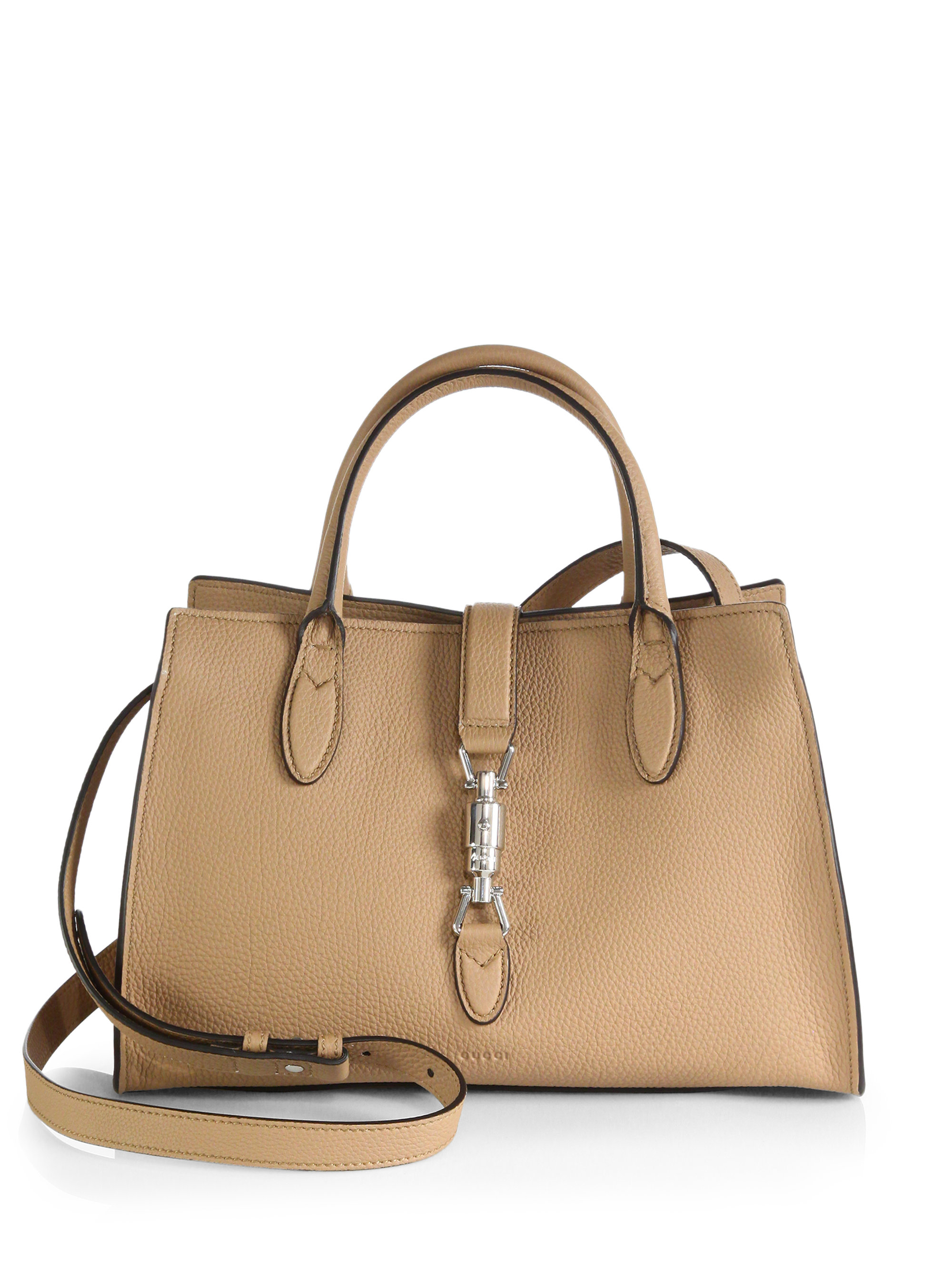 568dec0275c1 Gucci Jackie Soft Leather Top Handle Bag in Natural - Lyst