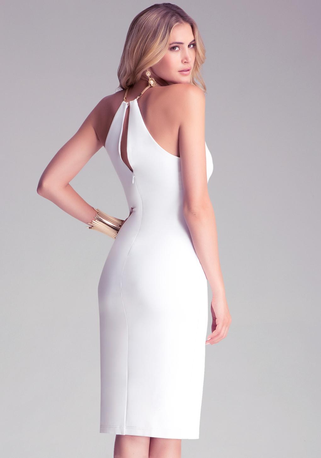 Embellished V Neck Dress - All Dresses | bebe